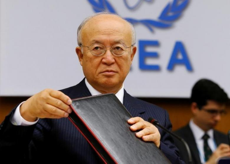 International Atomic Energy Agency (IAEA) Director General Yukiya Amano prepares for a board of governors meeting at the IAEA headquarters in Vienna, Austria June 6, 2016. REUTERS/Heinz-Peter Bader