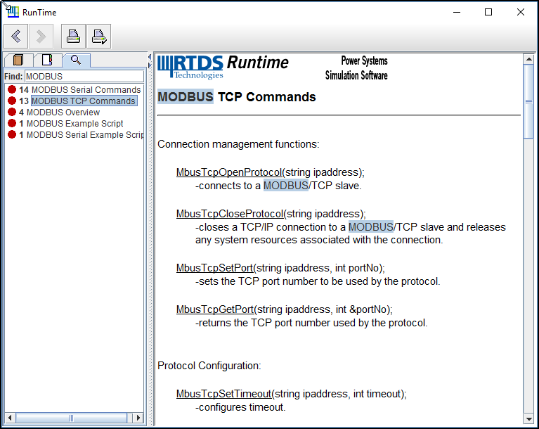 Figure 2: RSCAD Runtime help for MODBUS