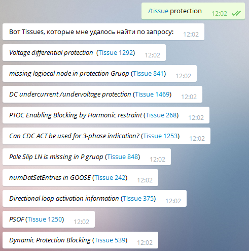 IEC 61850 Tissues in Telegram Bot