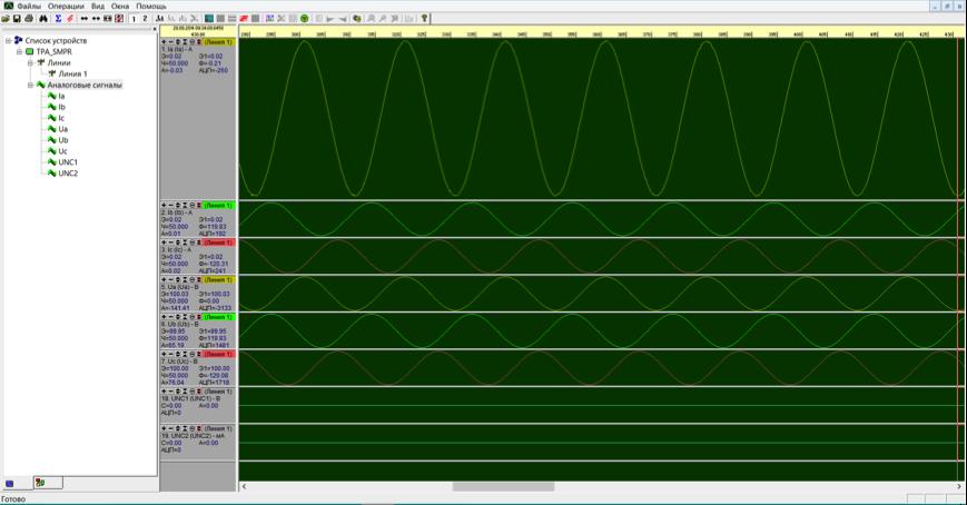 Рис. 10. Осциллограммы сигналов по аналоговым каналам устройства.