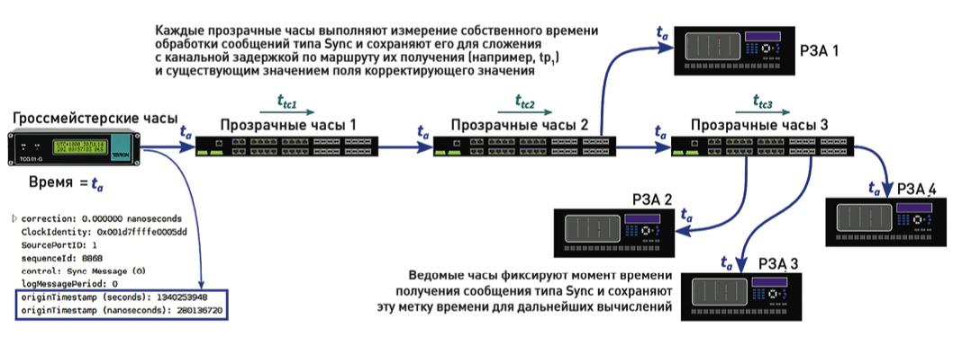 Рис. 6. Графическое представление маршрута распространения сообщения типа Sync по сети.